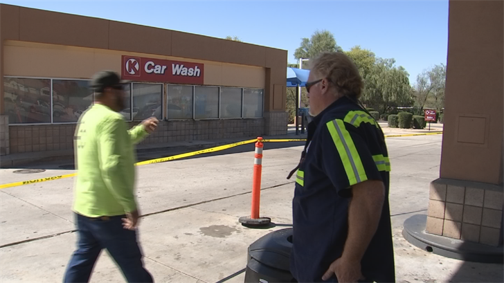 Contractors Jack O'Halloran and Mickey Cantrell were working on the gas pumps when the suspect pulled up and started talking to them. (Source: 3TV/CBS 5)