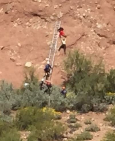 Papago Butte mountain rescue. Friday 17 March 2017 [SOURCE: Phoenix Fire]