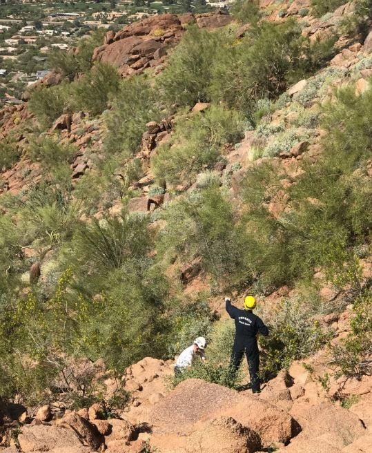 Phoenix Fire Rescue Team assists an injured hiker.  18 March 2017 [Source: Phoenix Fire Department]