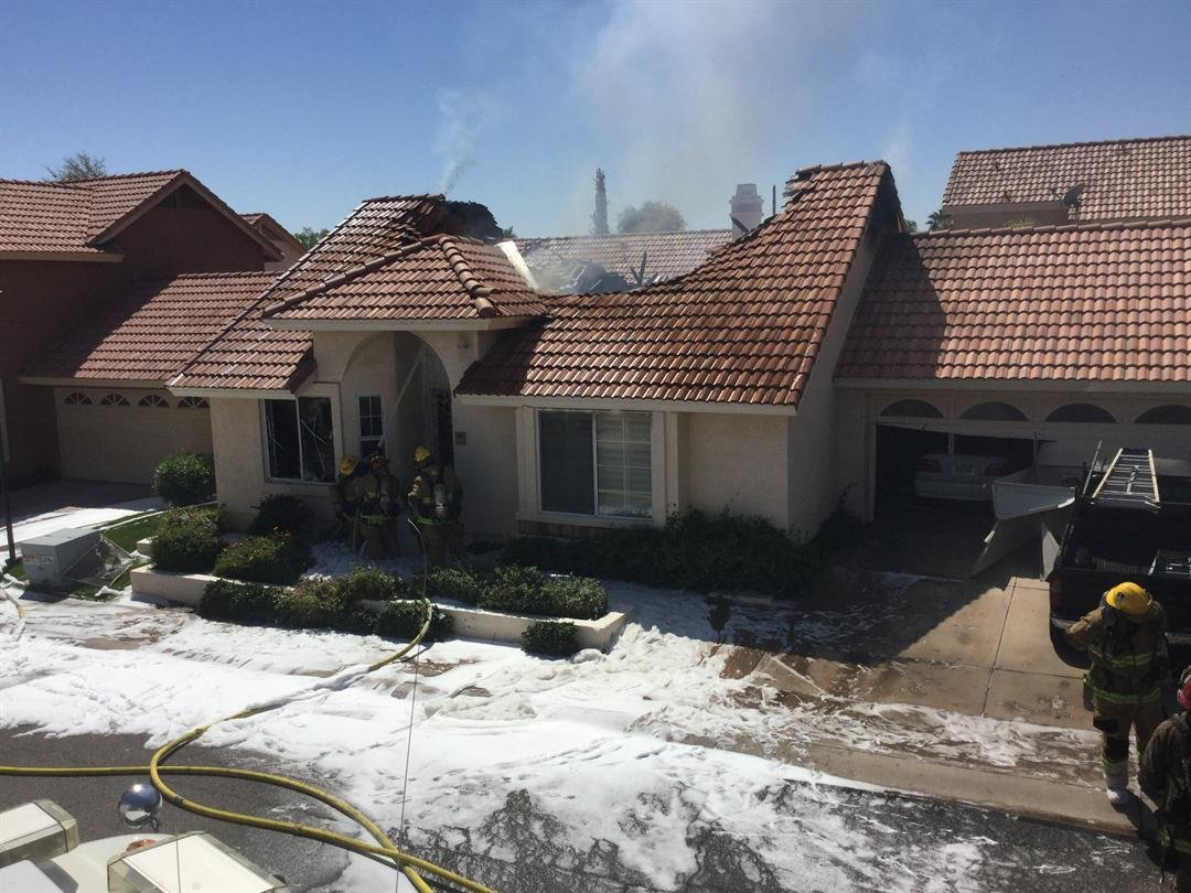 The roof is gone after a fire at this Ahwatukee home Sunday.  19 March 2017 [Source: 3TV/CBS5News]