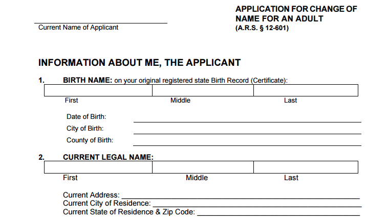 Part of Arizona's official application for a name change (Source: AZCourts.gov)