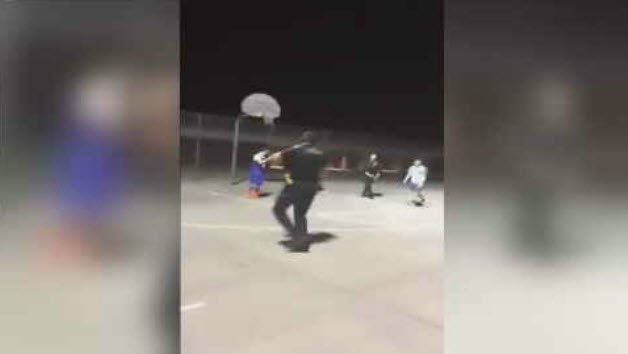 Jayden Sormani, Jaiden Gonzales and Joshua Rostran played basketball with Peoria police officers. (Source: 3TV/CBS 5)
