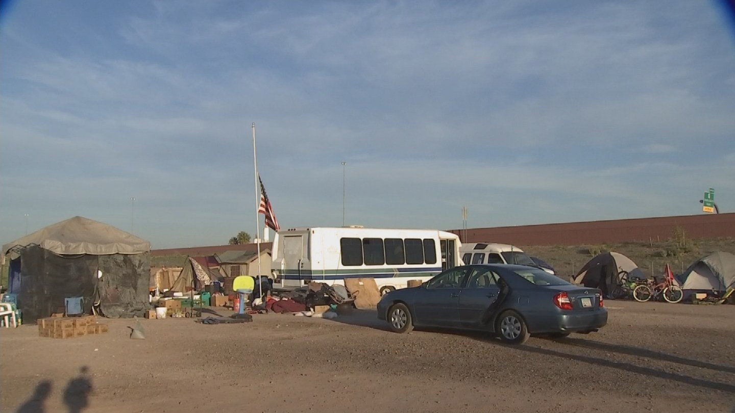 A homeless camp for veterans in the East Valley has been forced to move. (Source: 3TV/CBS 5)