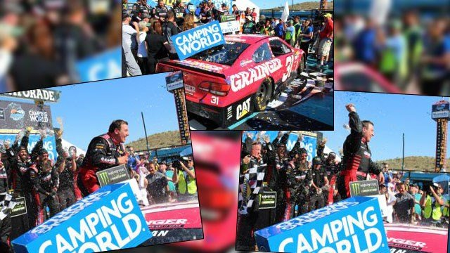 Ryan Newman takes home the checkered flag at the Camping World 500 for his first win since 2013 at Phoenix International Raceway on Sunday, March 19, 2017, in Avondale, Ariz. (Source: Tyler Drake/ Cronkite News)