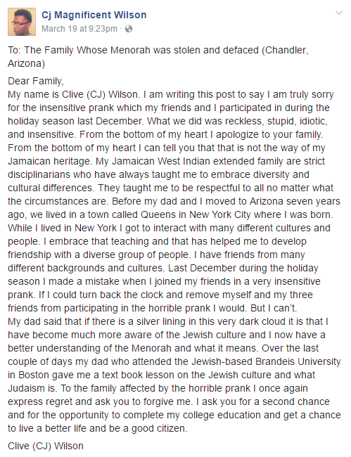 CJ Wilson's Facebook post apologizing to the Ellis family (Click to enlarge) (Source: Facebook)