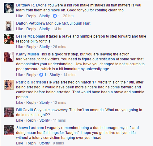 Comments to Wilson's Facebook apology (Click to enlarge) (Source: Facebook)