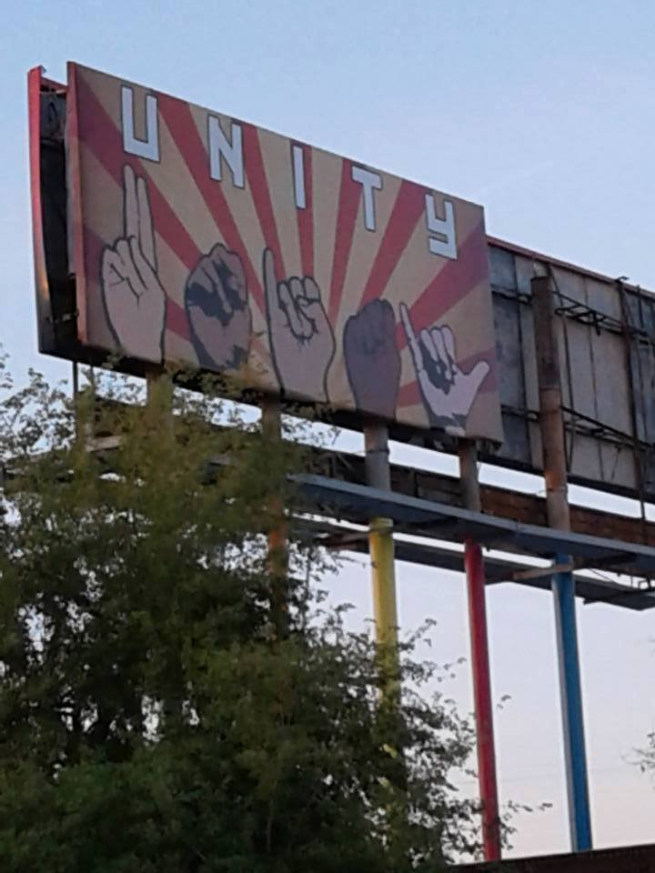 This is what's on the other side of the billboard. (Source: Karen Fiorito via Facebook.)
