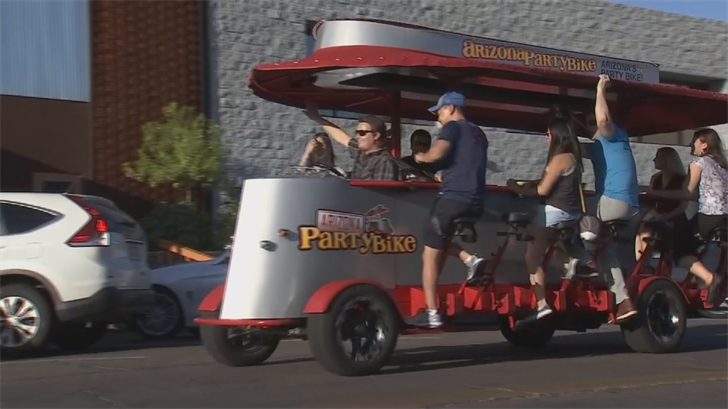 The party bikes are equipped with music LED lights, seat belts and an electric motor in case the riders gets tired of pedaling. (Source: 3TV/CBS 5)