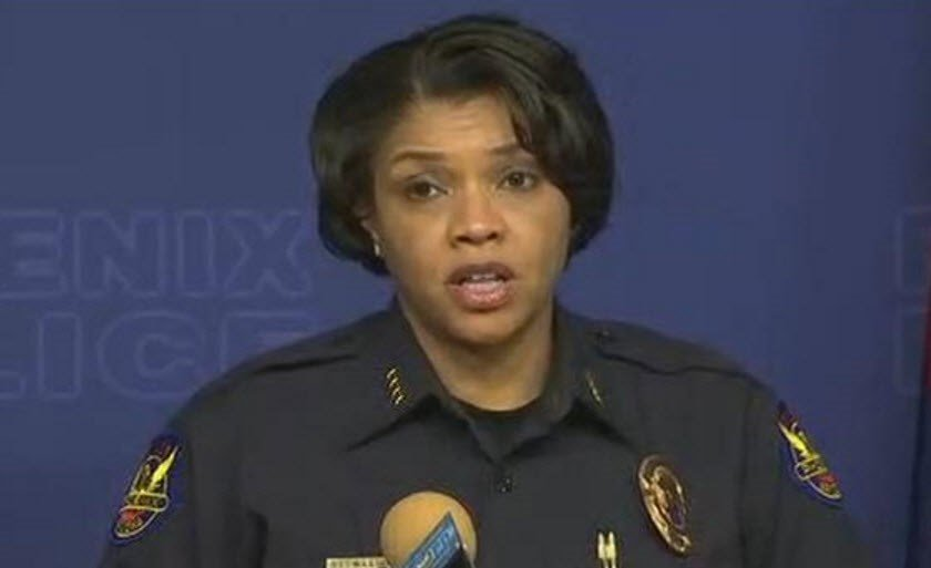 "Phoenix Police Chief Jeri Williams calls the fatal shooting a ""tragic death.""  (Source: 3TV/CBS 5)"
