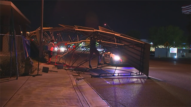 Some scaffolding came crashing down in the area of 16th Street and Camelback Road. (Source: 3TV/CBS 5)
