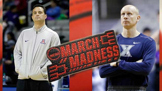Arizona coach Sean Miller and Xavier head coach Chris Mack face off in the Sweet 16 once again. (Source: AP Photo/Marcio Jose Sanchez)