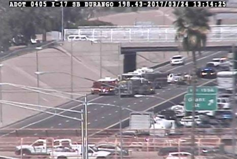 DPS officers on scene at southbound I-17 near Grant. 24 March 2017 [Source: 3TV/CBS5