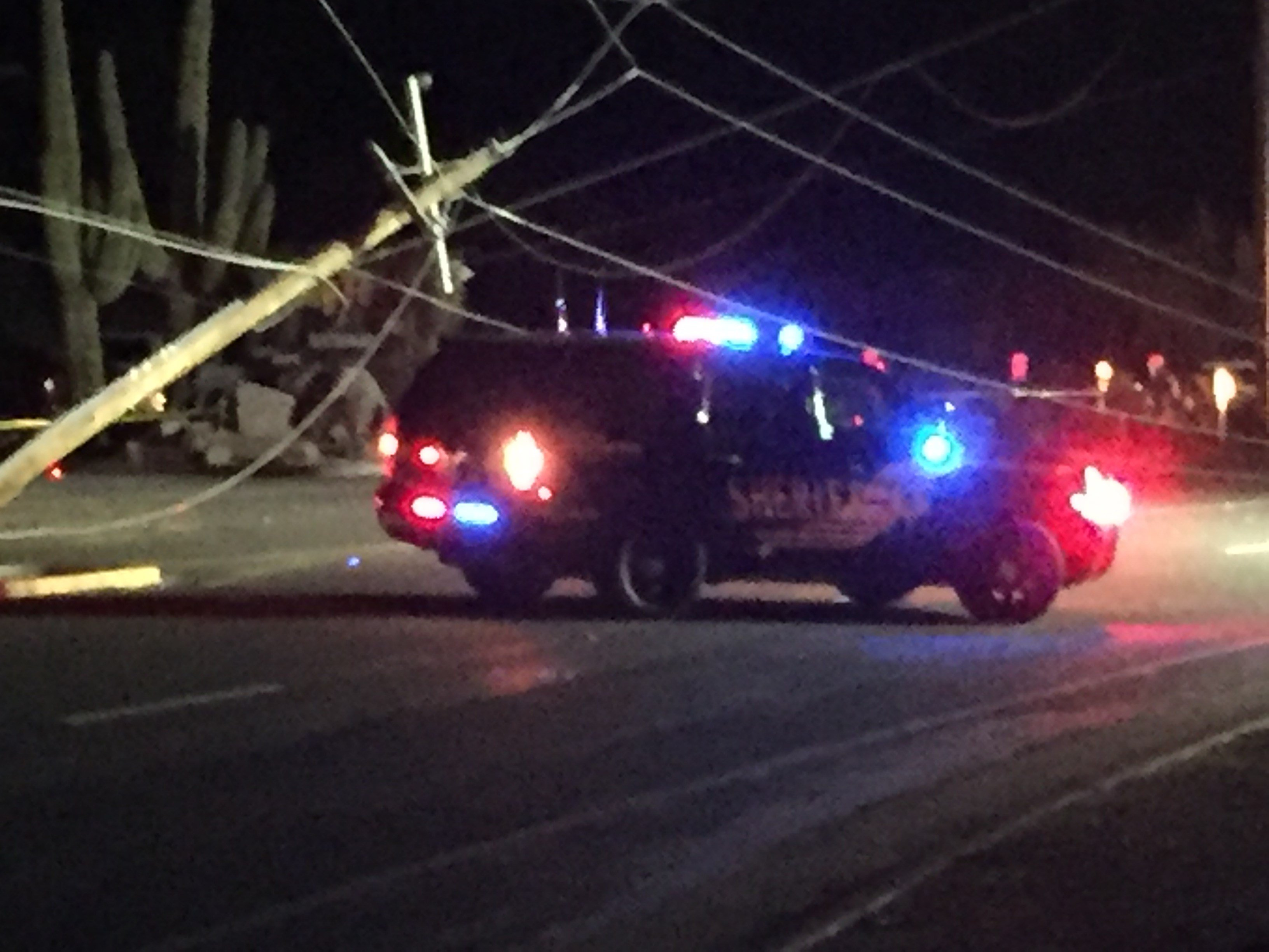 A suspected DUI driver hit a power pole in Cave Creek taking out power to the area. 25 March 2017 [Source: 3TV/CBS5]