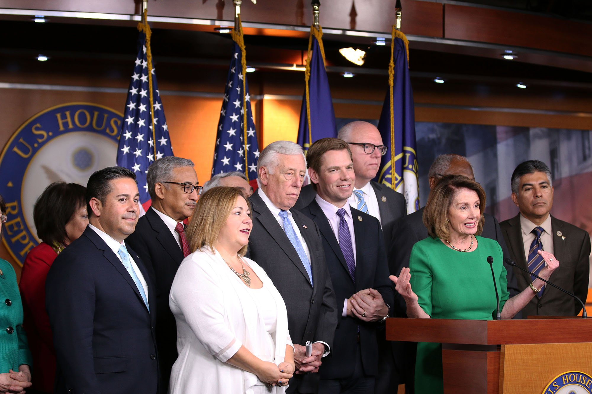 House Minority Leader Nancy Pelosi, who spearheaded passage of the Affordable Care Act when she was speaker seven years ago, and other Democrats speaking after the failure of a GOP plan to overturn the law. (Source: Dustin Quiroz/Cronkite News)