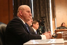 From left, National Border Patrol Council President Brandon Judd, National Treasury Employees Union President Anthony Reardon and National Immigration and Customs Enforcement Council President Chris Crane testify to the Senate committee.