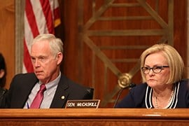 Sen. Ron Johnson, R-Wisconsin, and Sen. Claire McCaskill, D-Missouri, listen to testimony from labor union officials who said plans to hire thousands of new border and immigration agents could be thwarted by outdated hiring processes.