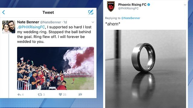 Phoenix Rising FC was able to find a Phoenix man's lost wedding ring. (Source: Twitter.com)