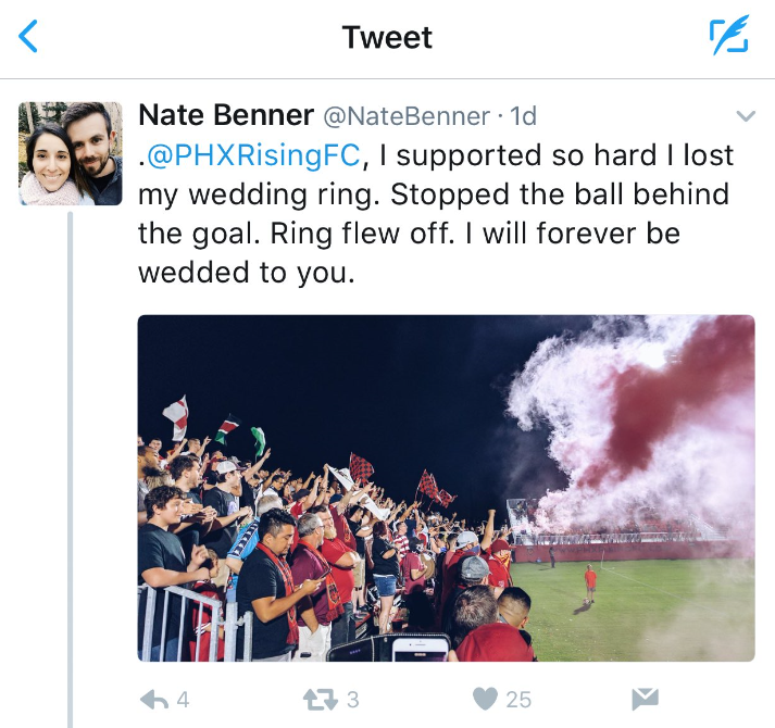 Benner tweeted about losing his ring. (Source: Twitter)