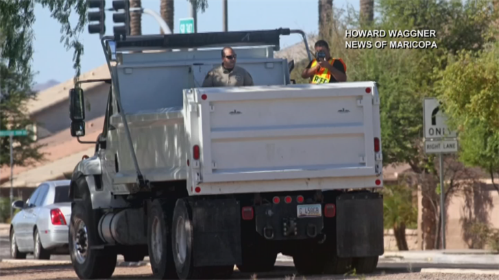Law enforcement agencies in Maricopa are using dump trucks to hide in and catch speeders. (Source: Howard Waggner)