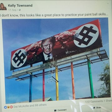 Rep. Townsend's original Facebook post suggesting the billboard be hit with paintballs. The post has since been deleted.