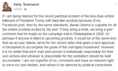 Rep. Townsend's response to being blamed for vandalism of Trump billboard. (Source: Facebook)