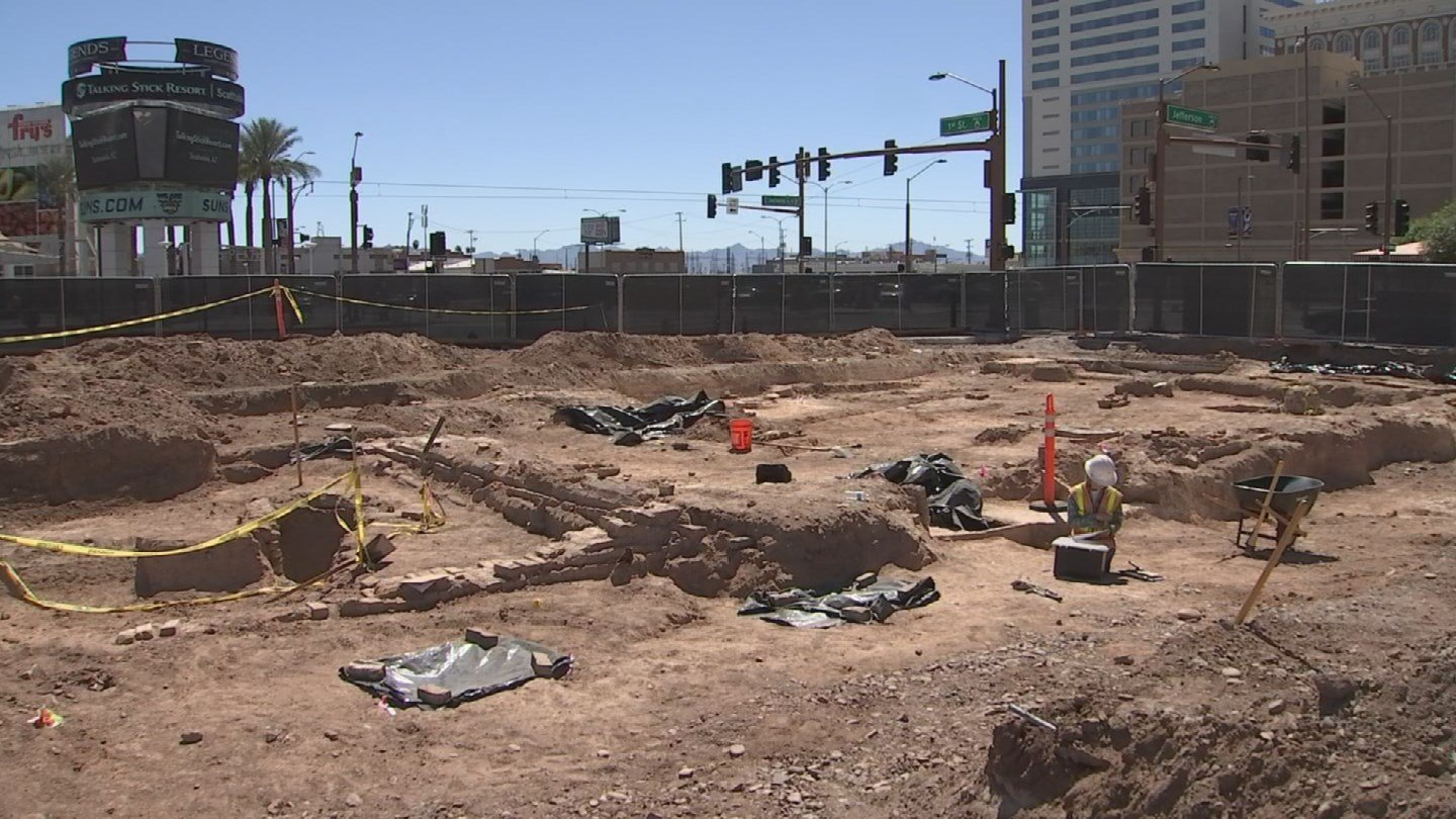 "The foundation of the city's first and second fire stations is uncovered at ""Block 23."" (Source: 3TV/CBS 5)"