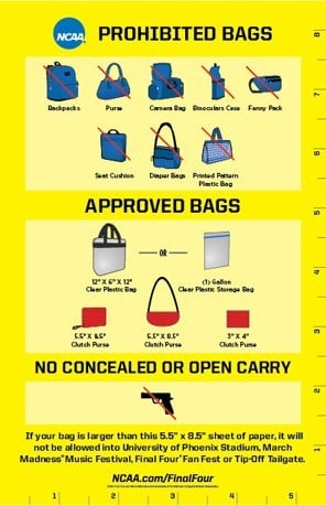 Final Four events clear bag policy (Source: March Madness Music Festival)