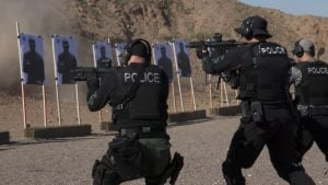 Gilbert Police officers fired rifles at targets during a rifle training course in the desert of Apache Junction. (Source: Rachael Bouley/Cronkite News)