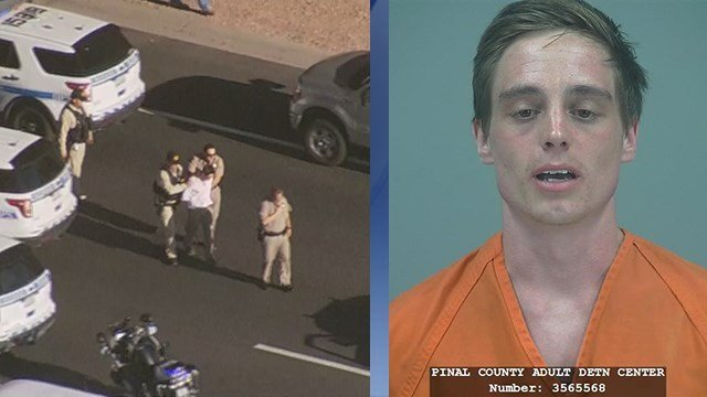 Allen K. Bartoli was taken into custody on Monday evening, left. He had been previously arrested in Pinal County. His mugshot is on the right. (Source: 3TV/CBS 5)