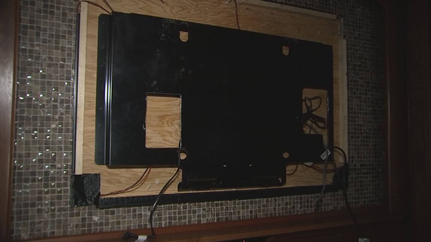 Thieves stole the TV and personal items from inside the RV. (Source: 3TV/CBS 5)