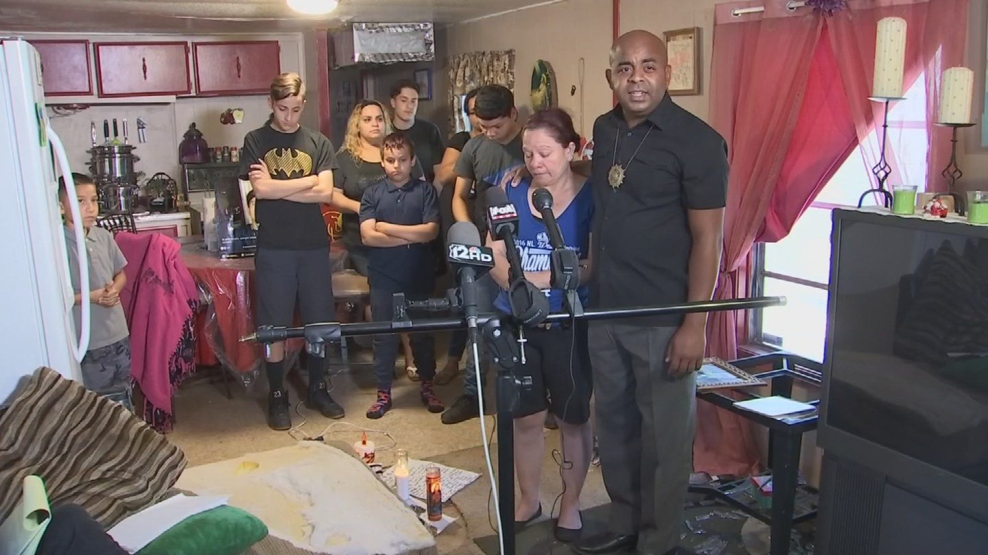 Rev. Jarrett Maupin and the family of Francisco Valdez hold a press conference in their home on Monday, April 3, 2017. (Source: 3TV/CBS 5)
