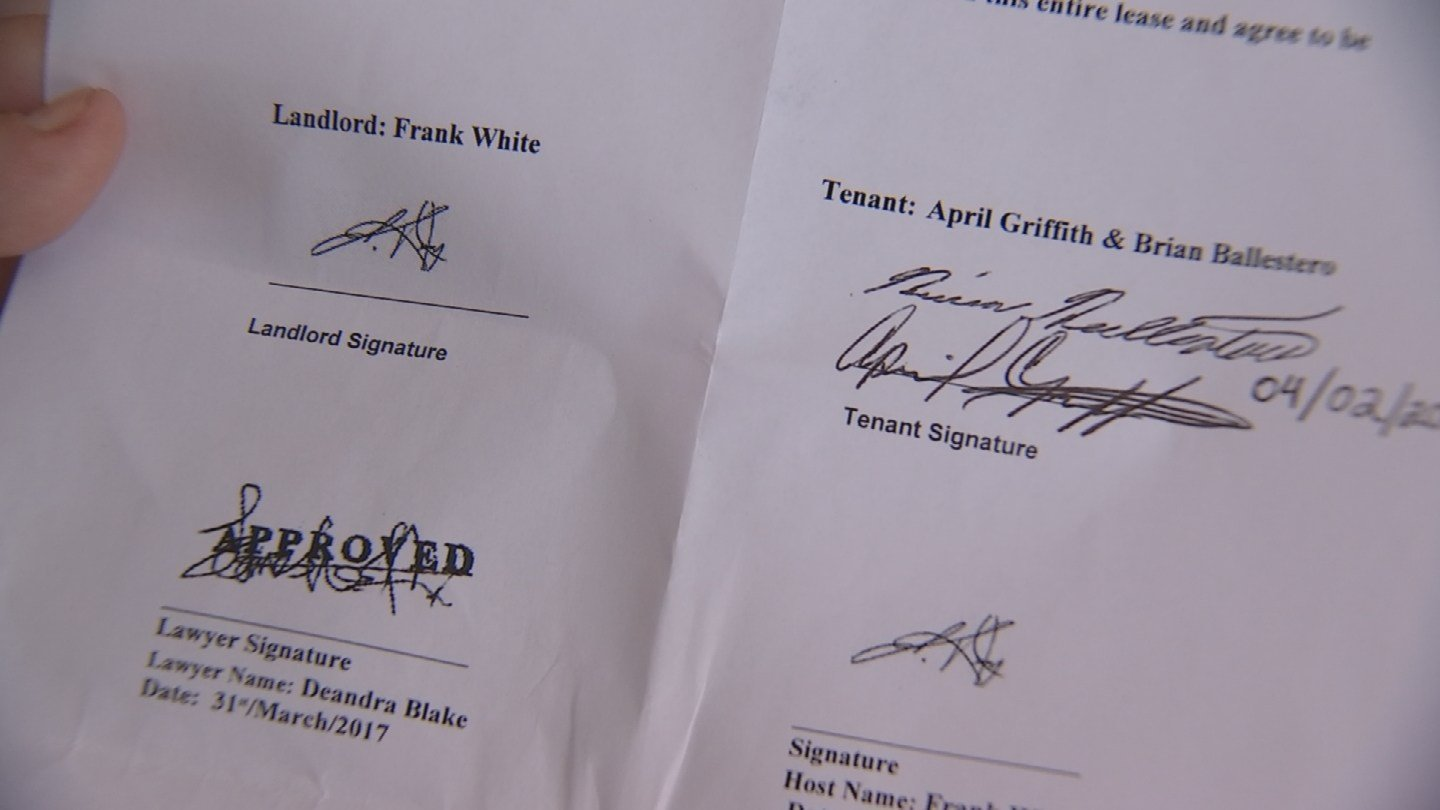 The lease signed by April Griffith that she later learned was fake. (Source: 3TV/CBS 5)