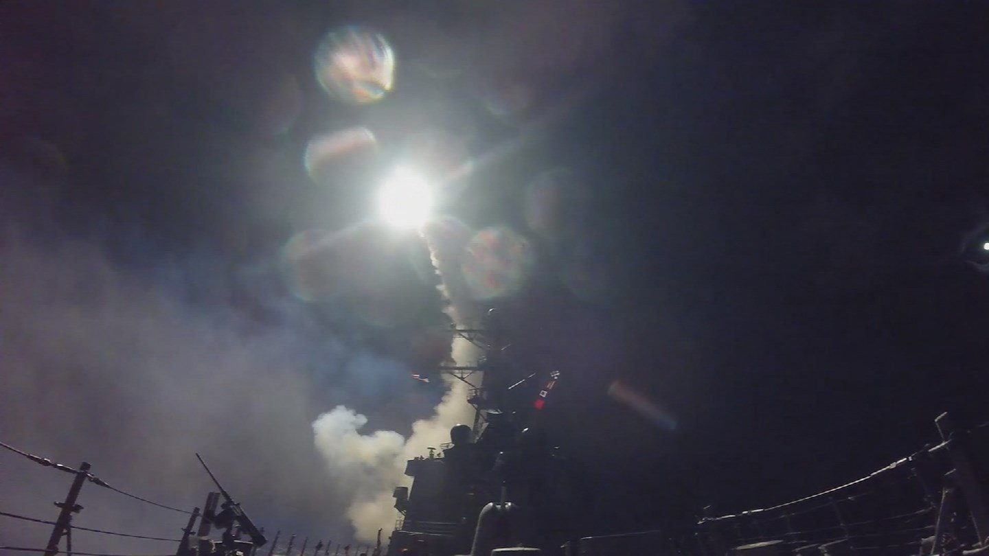 {Source: U.S. military targets Syrian airbase w- missiles]