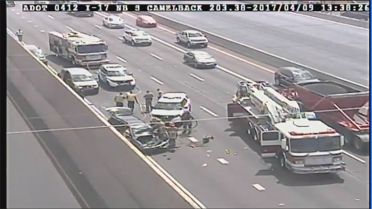 3 kids and 1 pregnant woman were hurt after a crash on the I-17. (Source: ADOT)