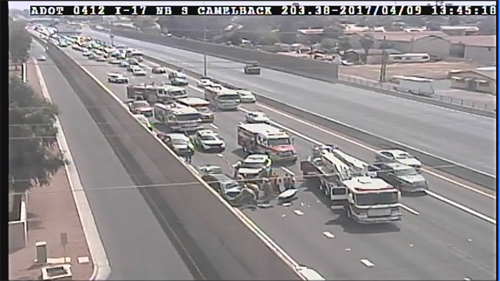 According to the Phoenix Fire Department, bystanders removed the three children from a van. (Source: ADOT)