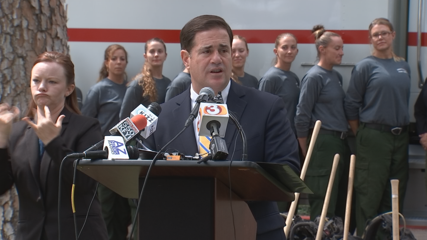 Gov. Doug Ducey joined forest and fire officials at the state Capitol to offer their annual outlook on the upcoming wildfire season. (Source: 3TV/CBS 5)
