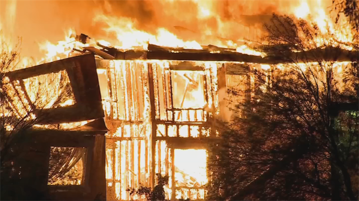 A three-alarm fire ripped through an under-construction senior citizens' independent living facility on 22nd and Northern avenues on March 18. (Source: 3TV/CBS 5)