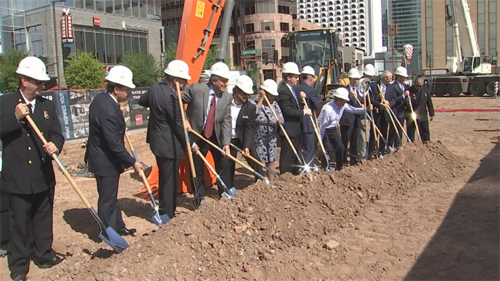 Officials participated in Thursday's groundbreaking for downtown Phoenix's first major grocery store. (Source: 3TV/CBS 5)