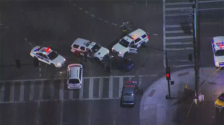 A suspect was arrested after getting into a crash and police boxing him in with their patrol cars. (Source: 3TV/CBS 5)