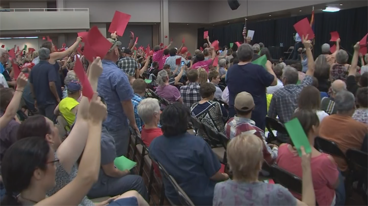 Sen. Flake face a mostly hostile crowd during his town hall on Thursday. (Source: 3TV/CBS 5)