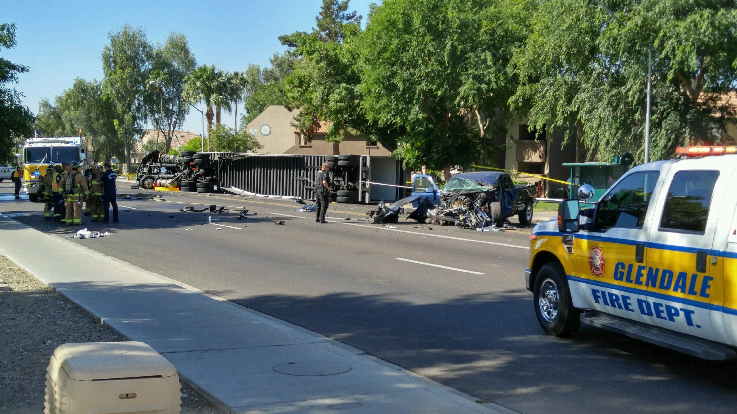 A truck collided with a semi in Glendale on Saturday morning. (Source: 3TV/CBS 5)