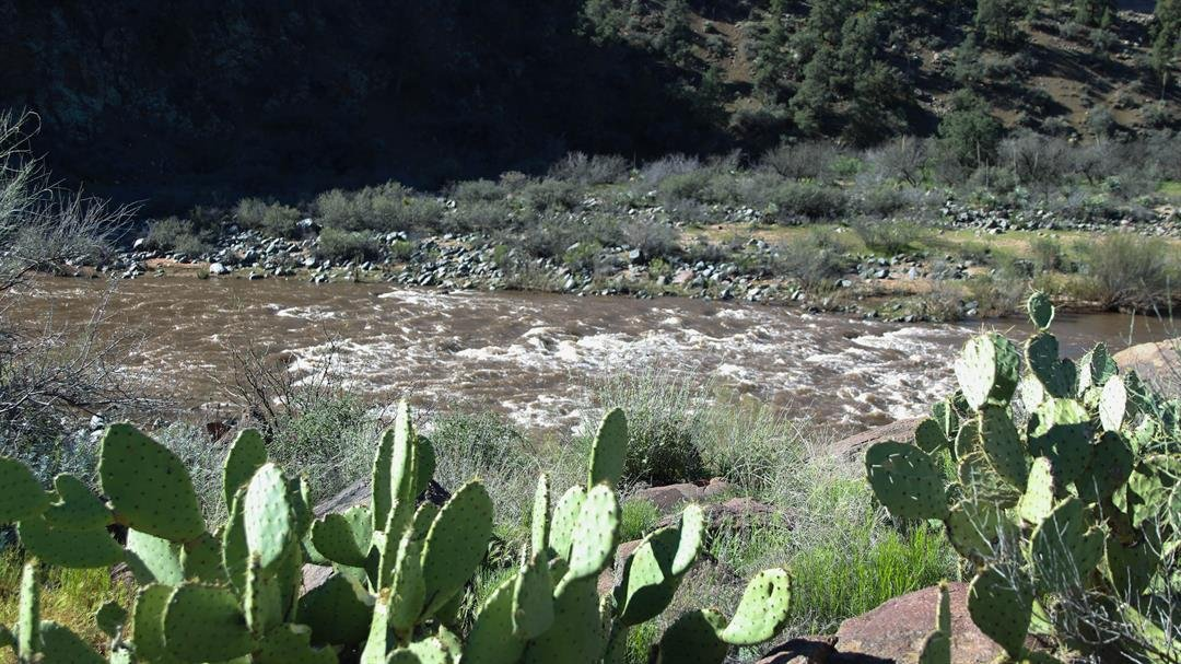 Water levels on the Upper Salt River have reached 18,000 cubic feet per second so far, said Brendan Grady, a tour guide with Salt River Rafting. (Source: Erica Apodaca/Cronkite News)