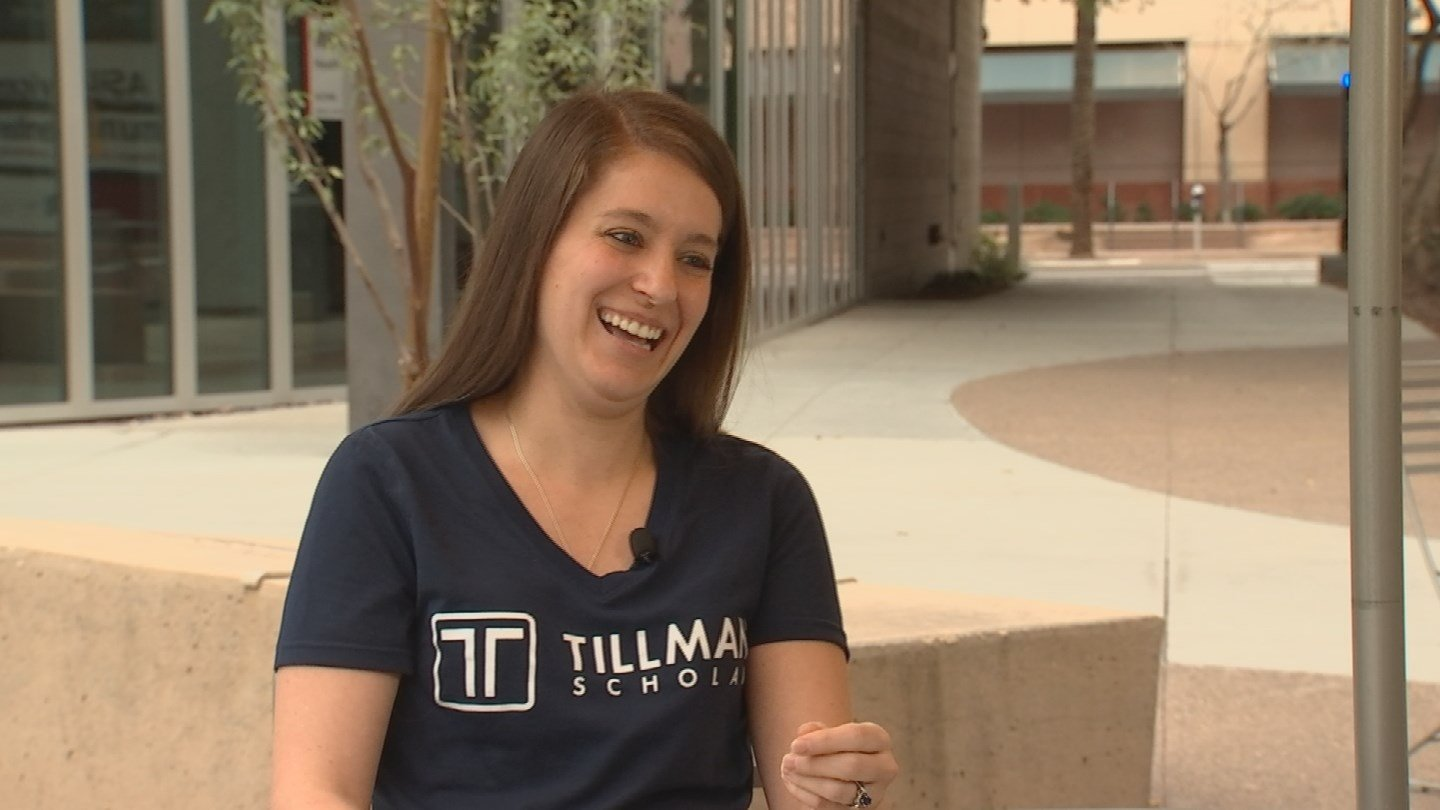 Katie Newton is overwhelmed by the distinction of being a Pat Tillman Scholar. (Source: 3TV/CBS 5)
