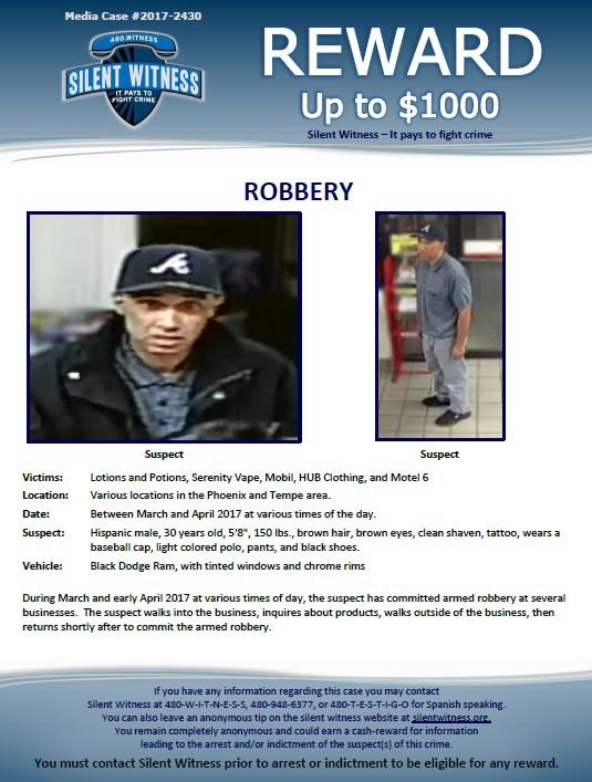 Phoenix Police are looking for this man who robbed several stores over the past two months. (Monday, 17 April 2017)   [Source: Phoenix Police Silent Witness] ]