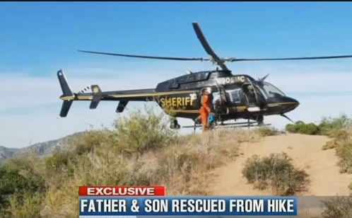 Sheriff helicopter assists in the search for the overdue hikers. (17 April 2017) [Source: 3TV/CBS5]