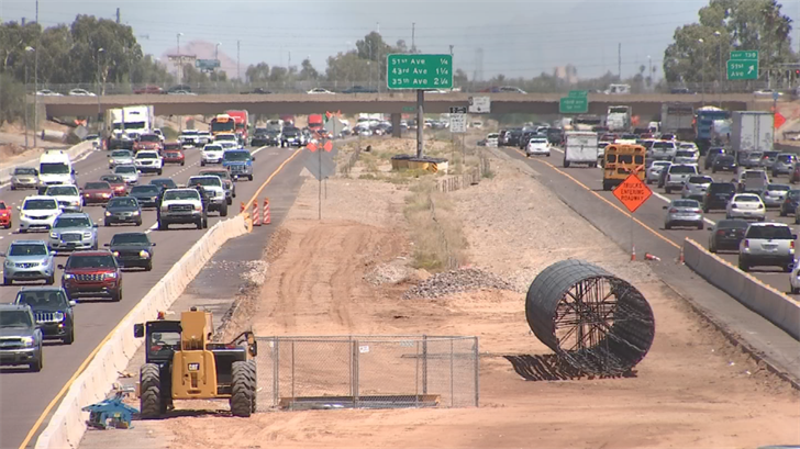 A series of I-10 closures between 51st Avenue and 67th Avenue will begin at 11 p.m. Tuesday. (Source: 3TV/CBS 5)
