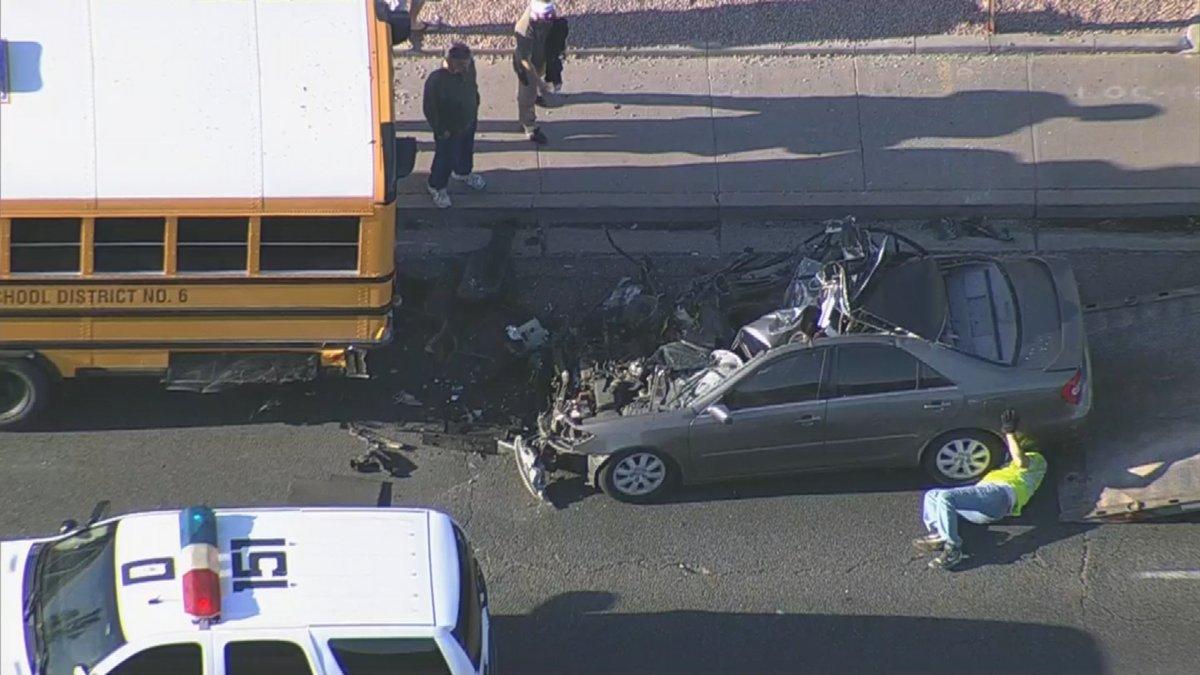 Car hits school bus in Phoenix near 35th & Dunlap avenues (Source: 3TV/CBS5)