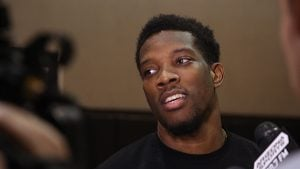 Suns guard Eric Bledsoe speaks to media at Talking Stick Resort Arena in Phoenix. His future with the team could change if the Suns select a playmaking guard in the NBA Draft. (Source: Logan Newman/Cronkite News)