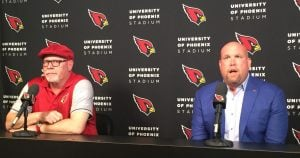 Cardinals coach Bruce Arians (left) and General Manager Steve Keim, address the media about the upcoming NFL Draft. The team could draft a quarterback of the future if the right player is available. (Source: Matt Faye/Cronkite News).