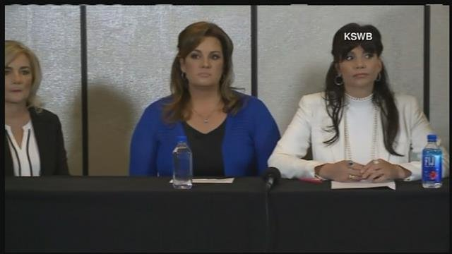 Nina Romano (middle, in blue) and Dina Shacknai (right) at Thursday's news conference (Source: 3TV/CBS 5)